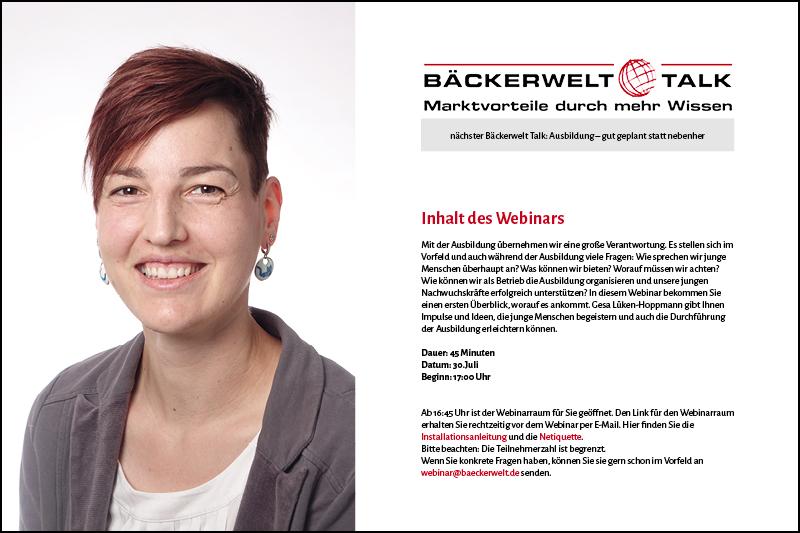 Nächster Bäckerwelt Talk mit Gesa Lüken-Hoppmann