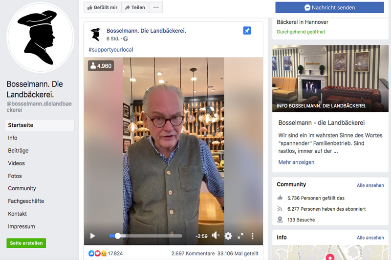 Bäcker Gerhard Bosselmann im Facebook-Video
