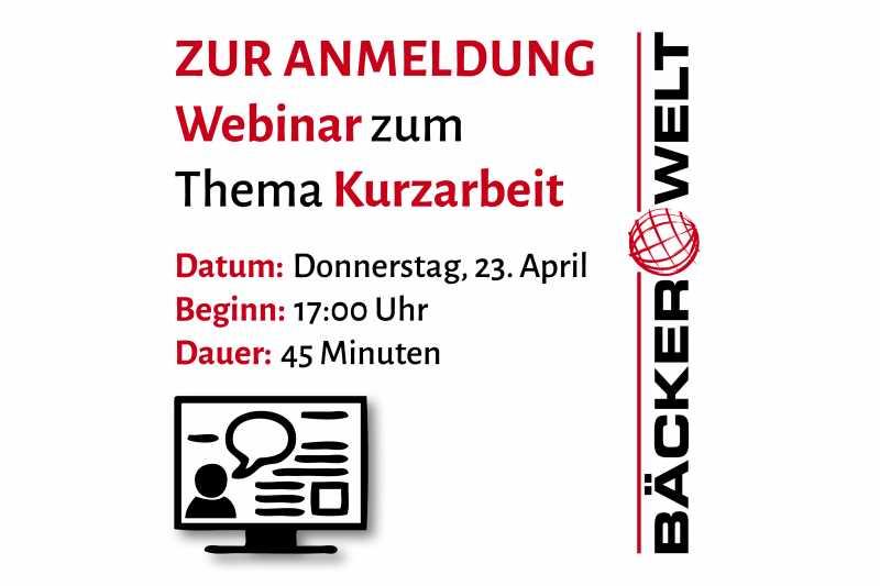 Einladung zum Webinar Kurzarbeit am 23. April